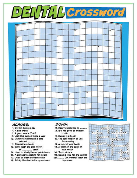 Dental Crossword Puzzle Activity Sheet - Pediatric Dentist in Fargo, ND