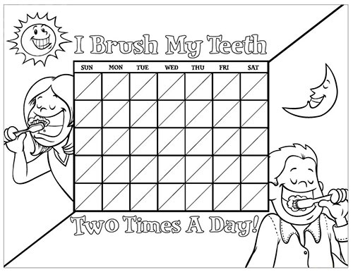 Black and White Brushing Chart for Children - Pediatric Dentist in Fargo, ND