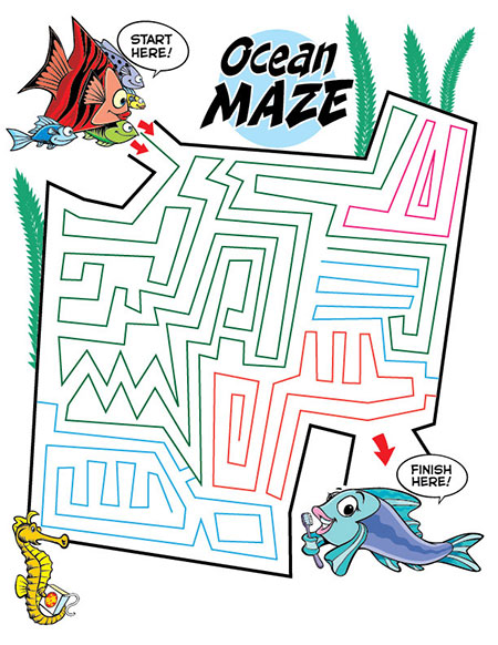 Ocean Maze Activity Sheet - Pediatric Dentist in Fargo, ND