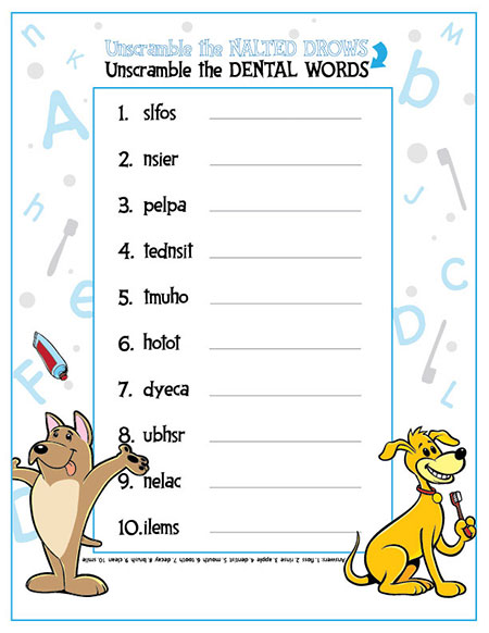 Unscramble the Dental Words Activity Sheet - Pediatric Dentist in Fargo, ND