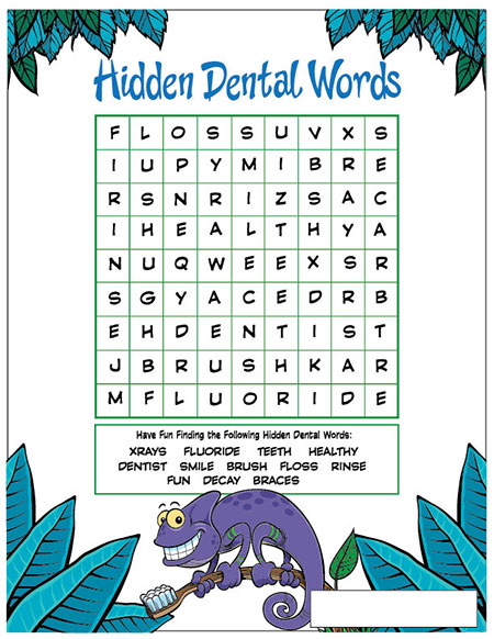 Hidden Dental Words Activity Sheet - Pediatric Dentist in Fargo, ND